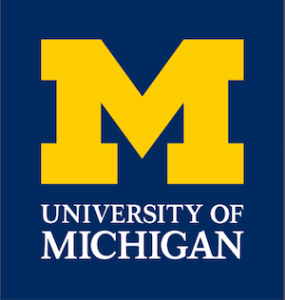 University of Michigan logo, yellow M on blue background