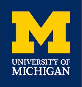 University of Michigan logo, yellow M on blue background